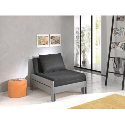 Vipack Einzelbett »Pino«, ausklappbar zum Gästebett, Grau