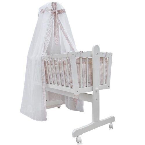 Oskar Babybett »Baby Wiege Kinder Bett Stubenwagen Beistellbett + 9 tlg. Zubehör Weiß / Beige«