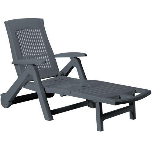 Casaria Gartenliege Gartenliege Zircone Kunststoff klappbar Rollen verstellbare Rückenlehne Gartenliege Rollliege Liegestuhl Anthrazit, Grau