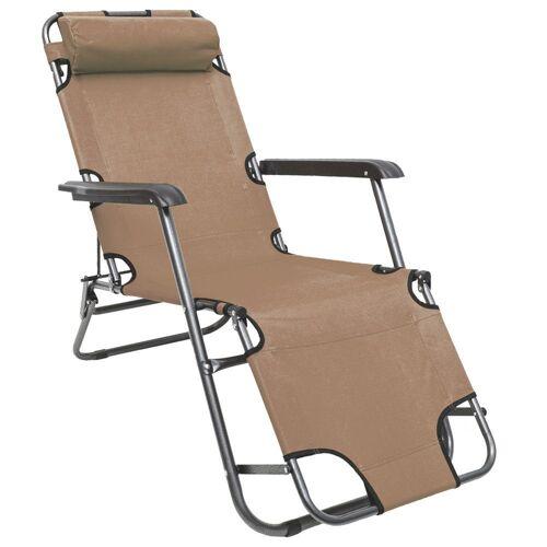 AMANKA Gartenstuhl »Campingstuhl Liegestuhl Freizeitliege Sonnenliege«, Klappliege Liege 153 cm Beige