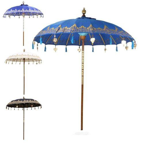 Oriental Galerie Sonnenschirm »Balinesischer Sonnenschirm 180 cm Einfache Bemalung Blau Gold«, Handarbeit, blau