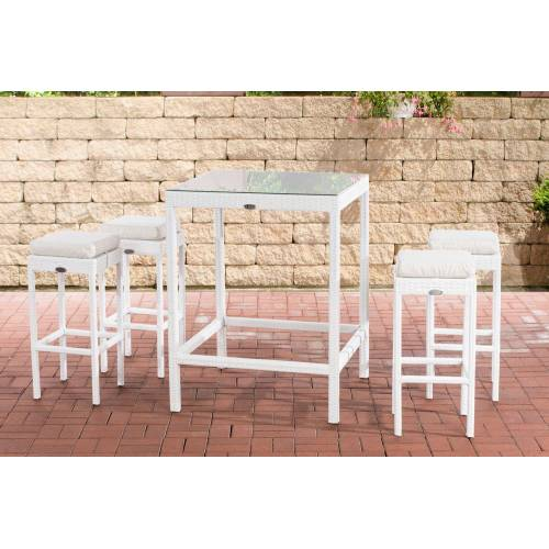CLP Gartenmöbelset »Gartenbar Alia«, mit Tisch und 4 Barhockern, weiß