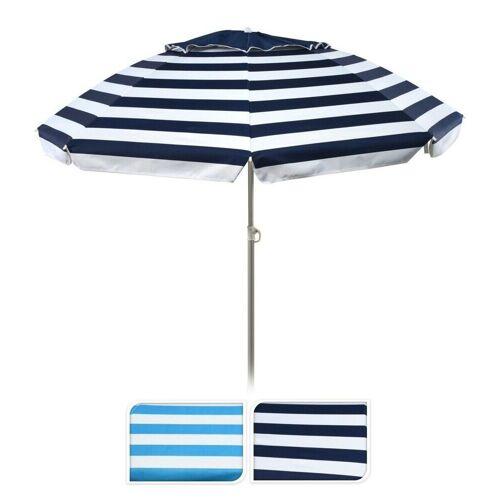 Meinposten Sonnenschirm »Strandschirm Balkonschirm UV Schutz 50+ knickbar gestreift Ø 155 cm«, abknickbar, höhenverstellbar, Blau-weiß gestreift