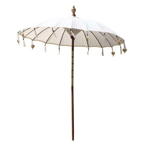Oriental Galerie Sonnenschirm »Balinesische Sonnenschirme Variante 180 cm Ø«, Handarbeit, creme