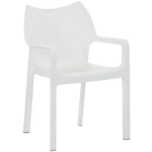 CLP Gartenstuhl »Diva«, Kunststoff-Gartenstuhl mit Armlehnen, weiß