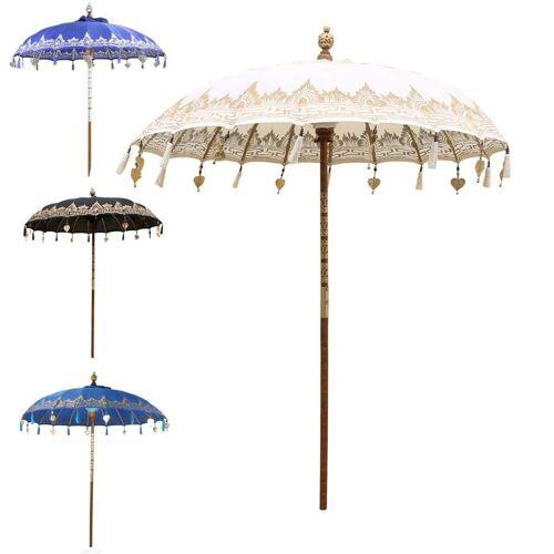 Oriental Galerie Sonnenschirm »Balinesischer Sonnenschirm 180 cm Einfache Bemalung Weiß Gold«, Handarbeit, weiß