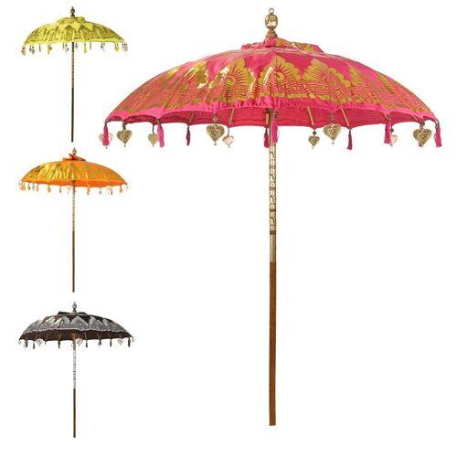 Oriental Galerie Sonnenschirm »Balinesischer Sonnenschirm 180 cm Doppelte Bemalung Pink Gold«, Handarbeit, pink