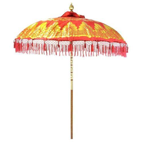 Oriental Galerie Sonnenschirm »Bali-Sonnenschirm Rot Gold Doppelte Bemalung mit Fransen«, Handarbeit