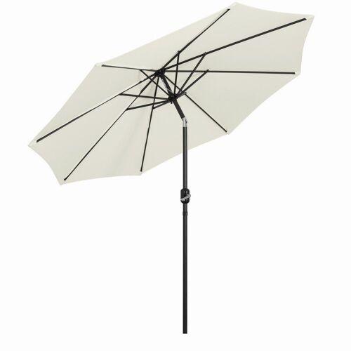 Mondeer Sonnenschirm, 2.7M Sonnenschirm, Kippbarer Gartenschirm, Marktschirm mit Handkurbel, UV-Schutz Terrassenschirm, Durchmesser ø38mm, Beige