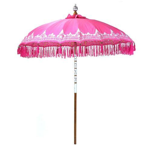 Oriental Galerie Sonnenschirm »Bali-Sonnenschirm Pink Silber mit Fransen 180 cm«, Handarbeit