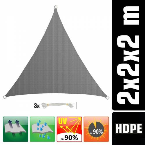 AMANKA Sonnensegel »UV Sonnensegel Sonnenschutz Plane Überdachung«, 2x2x2 m Dreieck grau