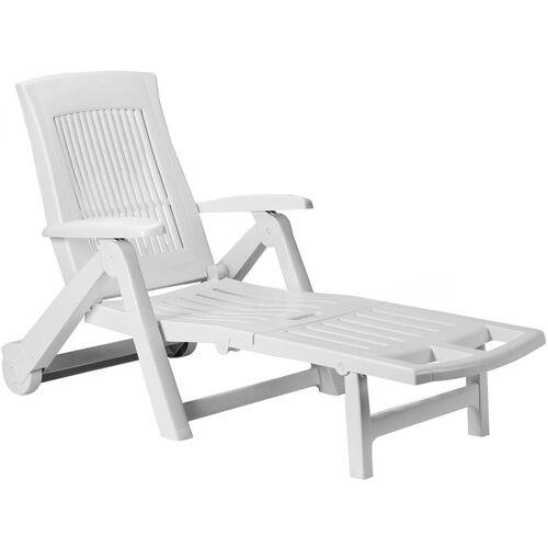Casaria Gartenliege Gartenliege Zircone Kunststoff Rollen klappbar verstellbare Rückenlehne Rollliege Liegestuhl Weiß, Weiß