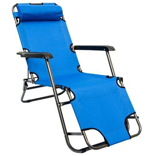 AMANKA Campingstuhl »Campingstuhl Liegestuhl Freizeitliege Sonnenliege«, Campingliege Liege 153cm Blau