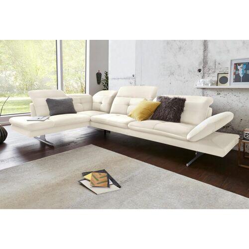 exxpo - sofa fashion Ecksofa, inkl. Kopf- bzw. Rückenverstellung und Armteilverstellung, altweiß