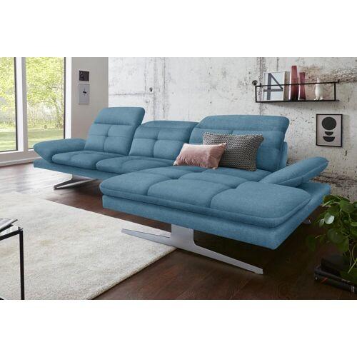 exxpo - sofa fashion Ecksofa, inkl. Kopf- bzw. Rückenverstellung und Armlehnenverstellung, azur