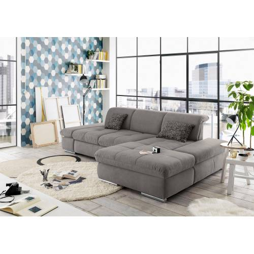 set one by Musterring Ecksofa »SO 4100«, Recamiere links oder rechts, wahlweise mit Bettfunktion, grey
