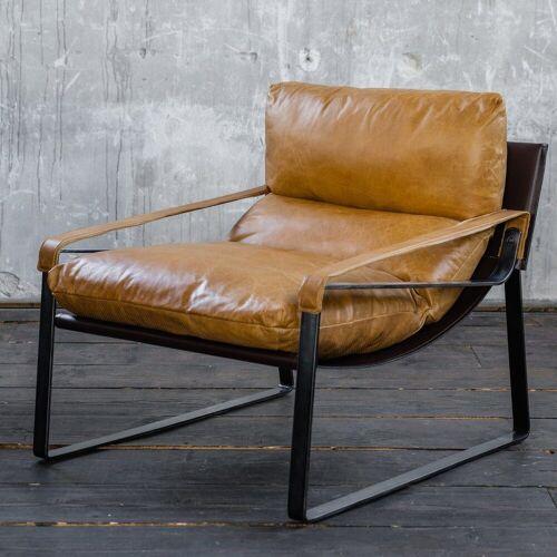 KAWOLA Relaxsessel »KUBE«, Vintage-Leder braun