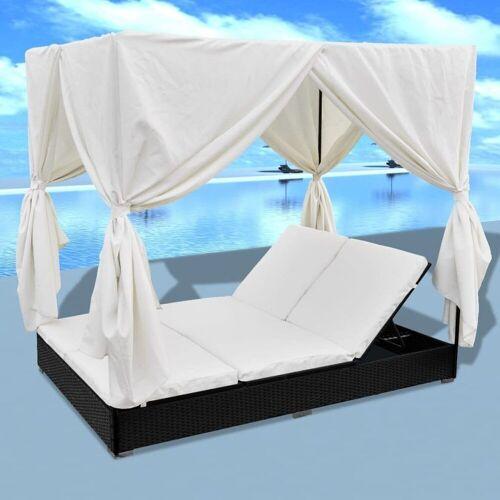 PHOEBE CAT Loungebett, Sonnenliege mit Vorhänge Poly Rattan Doppelliege Gartenliege
