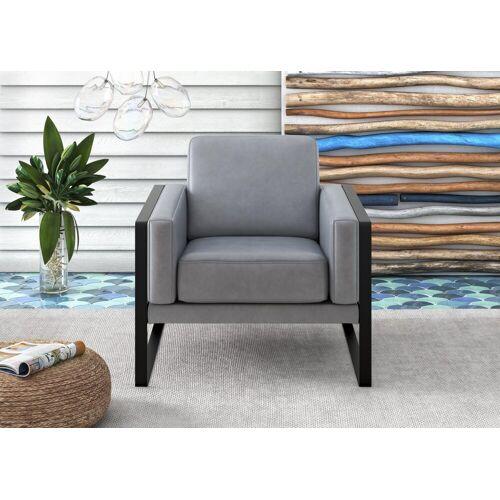 machalke® Loungesessel »frame«, Ledersessel mit Kufe in Schwarz, blue HUNTER