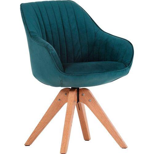 Gutmann Factory Drehstuhl »Chill«, Esszimmerstuhl, Armlehnstuhl mit bequemer Polsterung, grünblau   natur