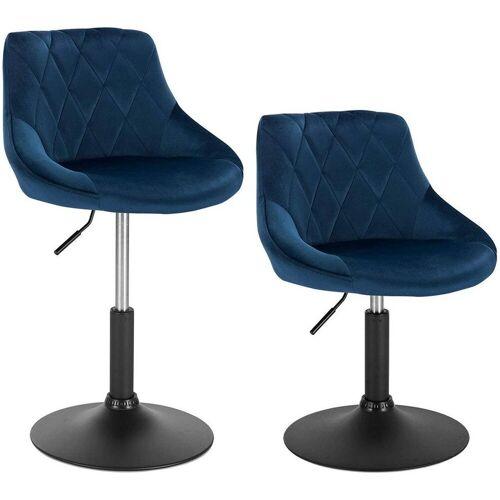 Woltu Barhocker, 2er-Set Barhocker aus Samt - Modell Sonia, blau
