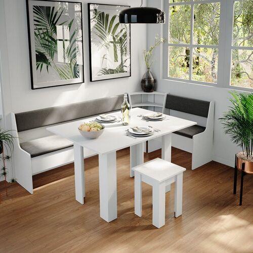 Vicco Sitzgruppe »Eckbankgruppe Roman Weiß 210x120cm Esszimmergruppe Eckbank Sitzgruppe«, Weiß