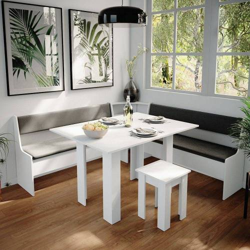 Vicco Sitzgruppe »Eckbankgruppe Roman Weiß 180x180cm Esszimmergruppe Eckbank Sitzgruppe«, Weiß