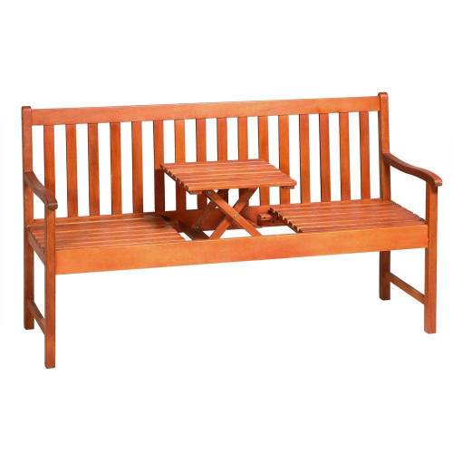 Deuba Bank »Picknick«, FSC®-zertifiziertes Eukalyptusholz hochklappbarer Tisch Holzbank Sitzbank Garten Bank Möbel
