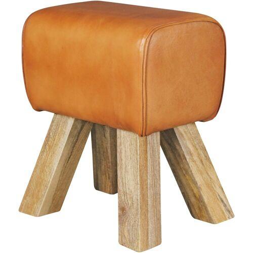 Wohnling Sitzhocker »WL5.108«, Design Turnbock Sitzhocker Braun 40 x 30 x 47 cm Turnhocker Hocker Lederhocker Springbock Beistellhocker Echtleder Fußhocker