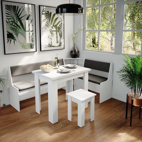 Vicco Sitzgruppe »Eckbankgruppe Roman Weiß 180x120cm Esszimmergruppe Eckbank Sitzgruppe«, Weiß