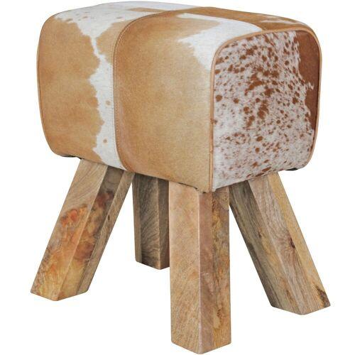 Wohnling Sitzhocker »WL5.109«, Design Turnbock Sitzhocker Ziegenfell Braun / Weiß 40 x 30 x 47 cm Turnhocker Hocker Fellhocker Springbock Beistellhocker Fußhocker