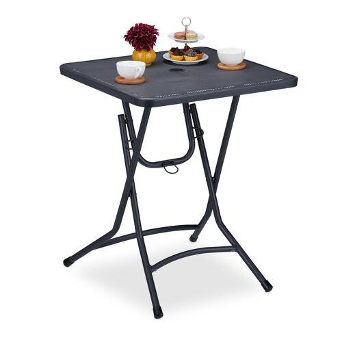 relaxdays Gartentisch »Balkontisch mit Schirmloch klappbar grau«