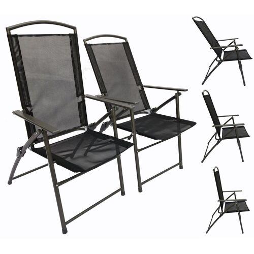 VCM Gartenstuhl »Set Metall - Gartenstuhl verstellbar«, 2 Stühle: Anthrazit