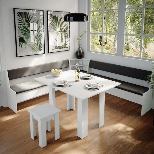 Vicco Sitzgruppe »Eckbankgruppe Roman Weiß 210x210cm Esszimmergruppe Eckbank Sitzgruppe«, Weiß