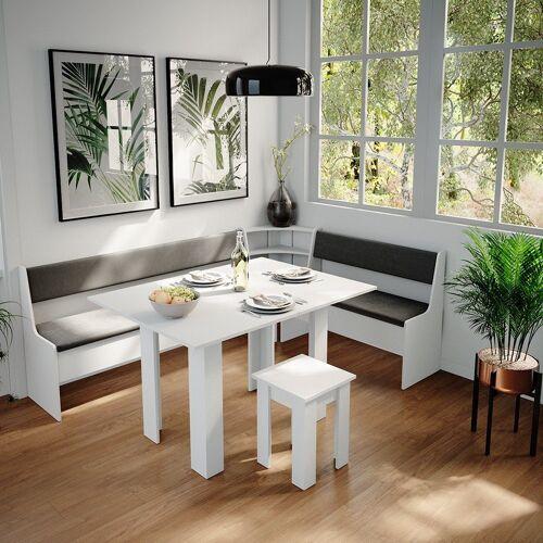 Vicco Sitzgruppe »Eckbankgruppe Roman Weiß 210x150cm Esszimmergruppe Eckbank Sitzgruppe«, Weiß