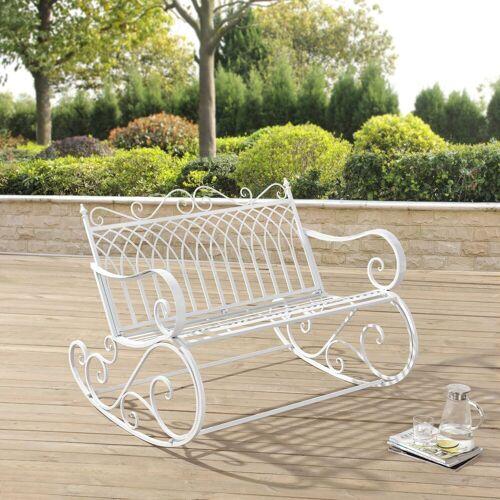 en.casa Gartenbank, »Greenough« Schaukelbank Sitzbank 85x113x95cm Metall Weiß, weiß