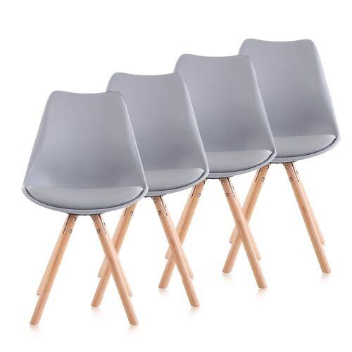 Makika Esszimmerstuhl »Retro Stuhl Design-Stuhl - MOOL 4er Set in Grau«