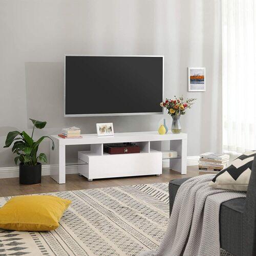 VASAGLE Lowboard »LTV14WT«, TV-Lowboards für Fernseher bis 60 Zoll, 140 x 35 x 45 cm, glänzend, weiß