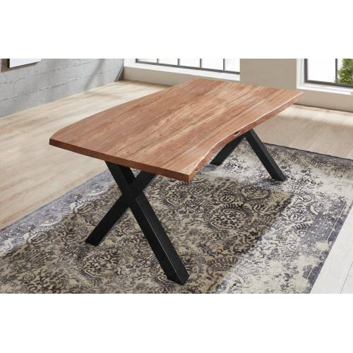 SAM® Baumkantentisch »Xanten«, Baumkante Tisch massiv Akazie X-Gestell Xanten