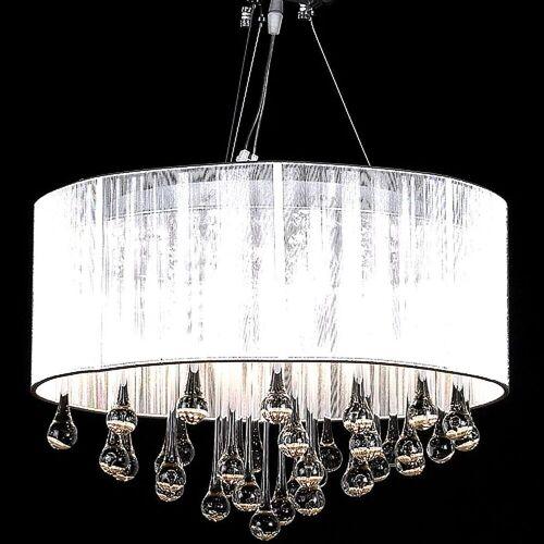 vidaXL Kronleuchter »Kristall Kronleuchter mit 85 echten Glas Kristallen«, Weiß