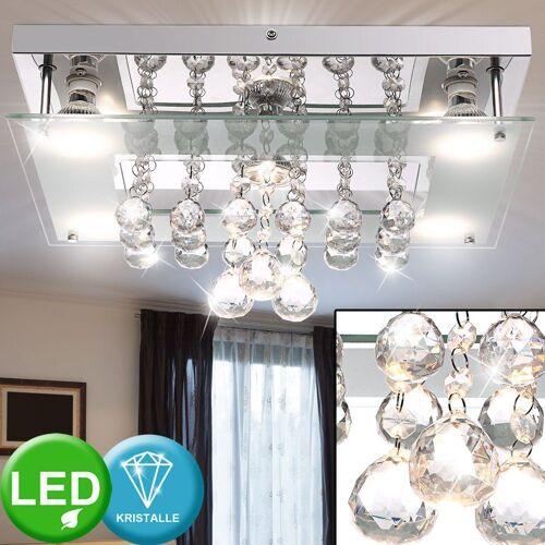 Globo Deckenleuchte, LED Deckenleuchte Deckenlampe Glas Chrom Kristalle B 27 cm Wohnzimmer Esszimmer