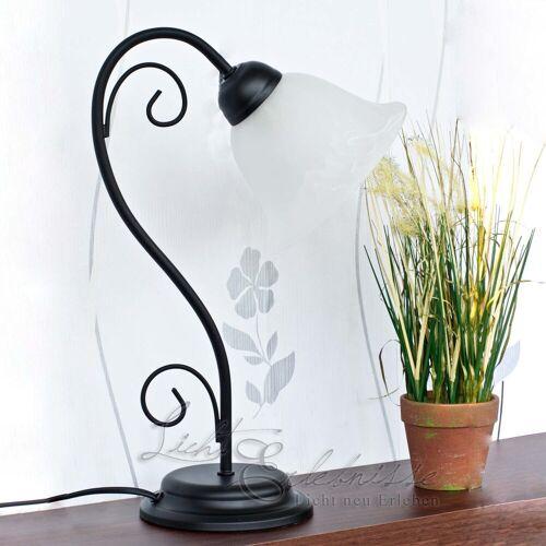 Licht-Erlebnisse Tischleuchte »ATHEN Tischlampe im Landhausstil rustikal Schwarz Alabaster Glas 43cm Lampe«