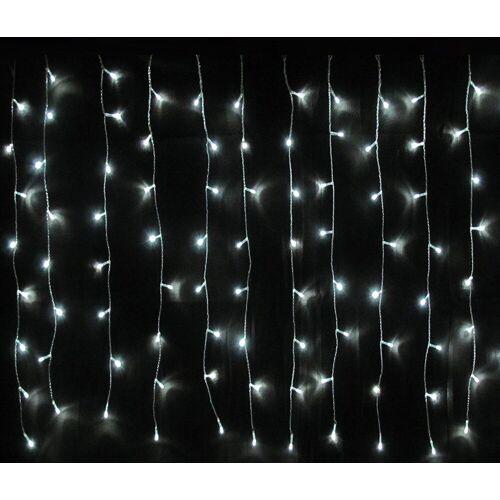 BigDean LED-Lichtervorhang »Premium 160er LED Lichtervorhang − Lichterkette für innen & außen − kaltweiss − (BxH) 190 x 80 cm − Kabelfarbe transparent − Vorhang Weihnachtslichterkette«