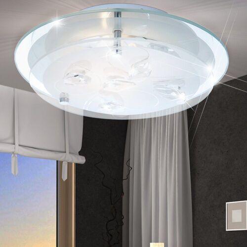 etc-shop Deckenleuchte, LED 7 Watt Decken Lampe floral Beleuchtung Wohnzimmer Kristalle klar IP20 A+