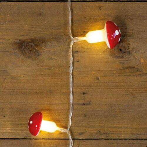 MARELIDA LED-Lichterkette »LED Lichterkette Fliegenpilz - 10 warmweiße LED - Kunststoff - L: 0,9m - Batteriebetrieb - rot/weiß«, 10-flammig