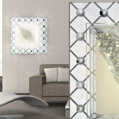 Esto Wandleuchte, 13 Watt LED Decken Wand Glas Lampe 1-flg eckig Kristall Wohnzimmer Beleuchtung A+ 748037