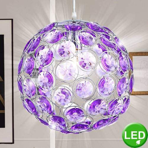etc-shop LED-Hängeleuchte, LED 6 Watt Hängeleuchte Hängelampe Pendelleuchte Beleuchtung Acrylkristalle lila Leuchte