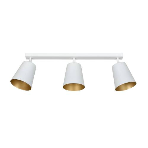 Licht-Erlebnisse Deckenstrahler »BOMER Deckenstrahler Weiß Gold Metall Schirm retro Wohnzimmer Lampe«