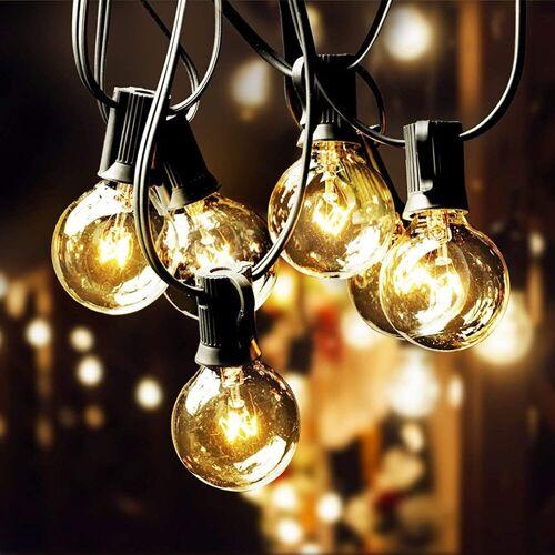 Elegear Lichterkette, G40 Lichterkette Glühbirnen IP65 Outdoor Lichterkette Außen 12,2M 30 Birnen mit 3 Ersatzbirnen Wasserdichte Lichterkette Innen Aussen Dekoration für Balkon Garten Hochzeit Party (Warmwei)