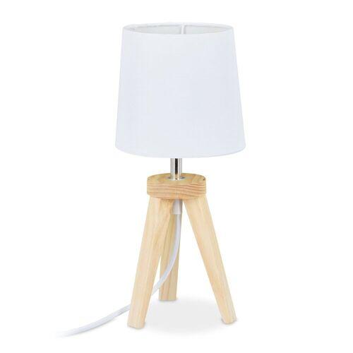 relaxdays Nachttischlampe »Tischlampe Dreibein Holz/Weiß«